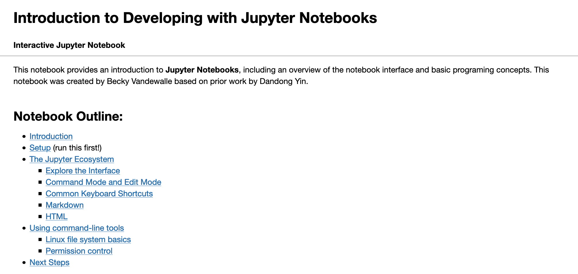 Introduction to Developing with Jupyter Notebooks