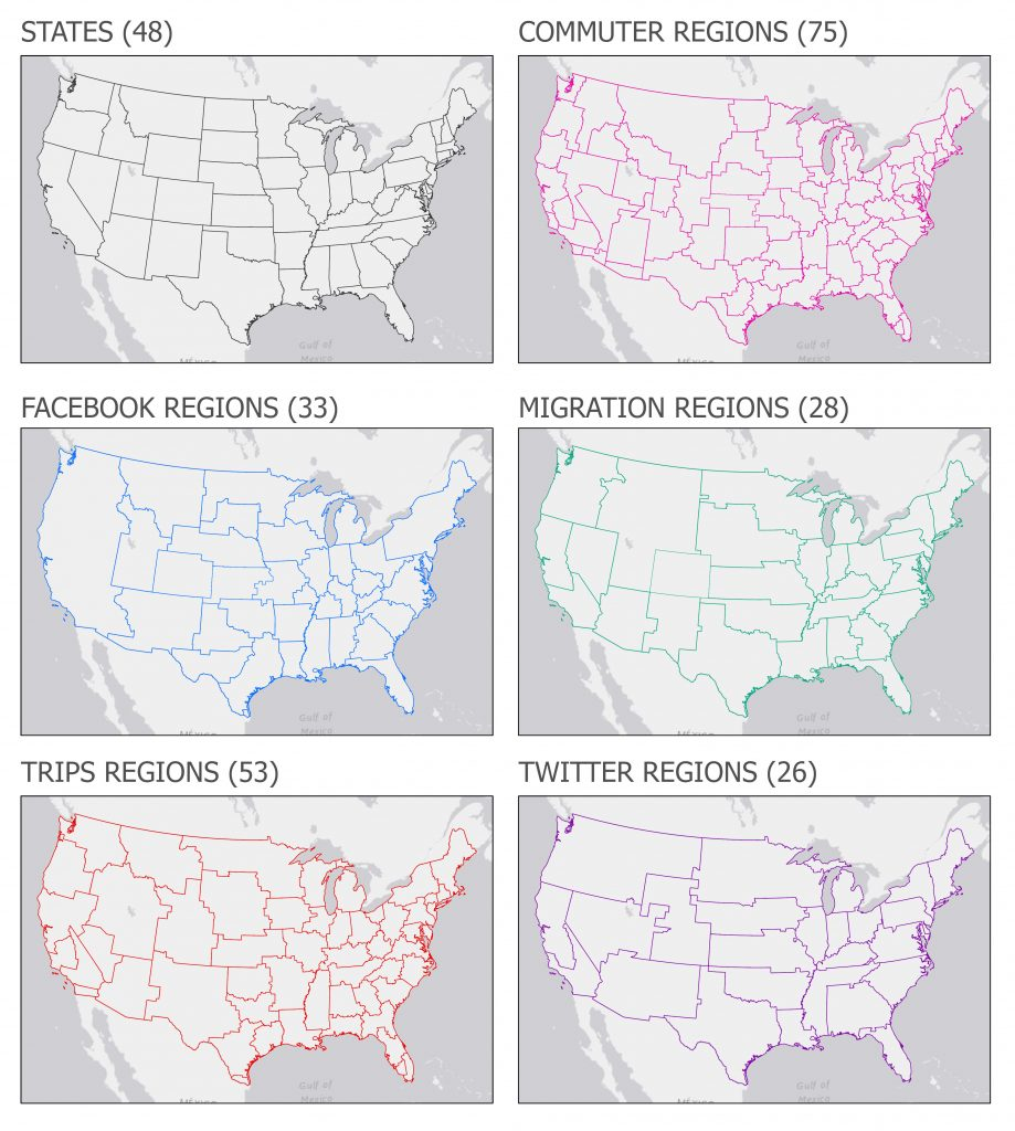 These regions are the result of community-detection methods using the Louvain method for multiple input networks.